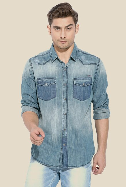 Mufti Blue Washed Denim Solid Shirt