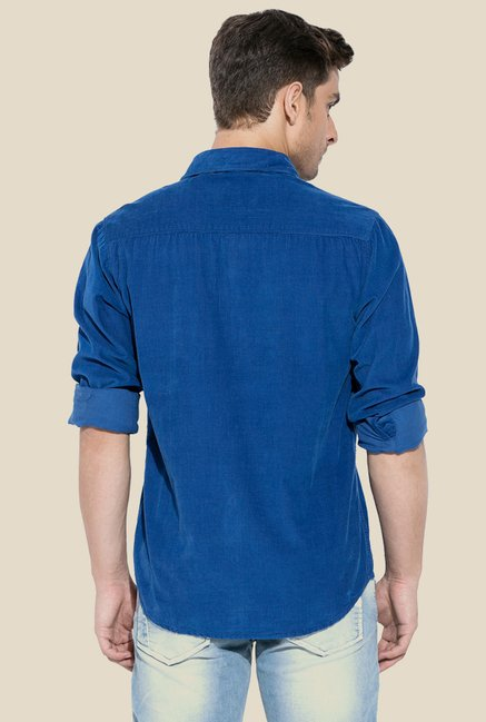 Mufti Royal Blue Solid Shirt