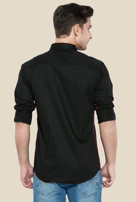 Mufti Black Solid Button Down Collar Shirt