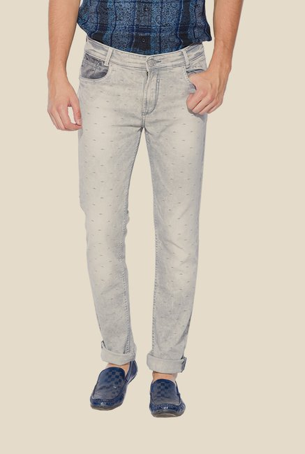 Mufti Grey Printed Jeans