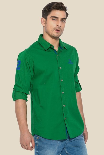 Mufti Green Solid Cotton Shirt
