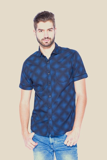 Mufti Navy Printed Half Sleeve Shirt