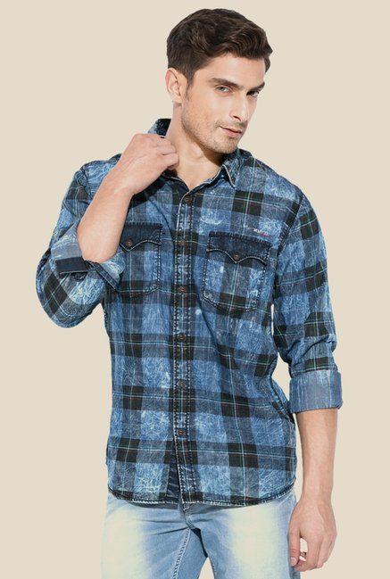 Mufti Blue & Black Checked Shirt