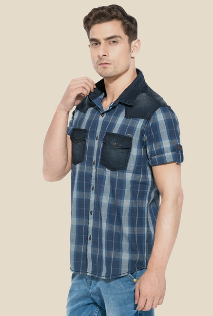 Mufti Navy Checked Short Sleeve Shirt