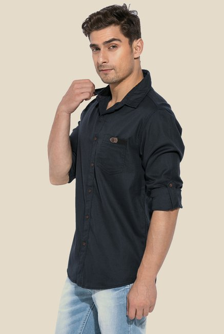 Mufti Black Solid Full Sleeves Shirt