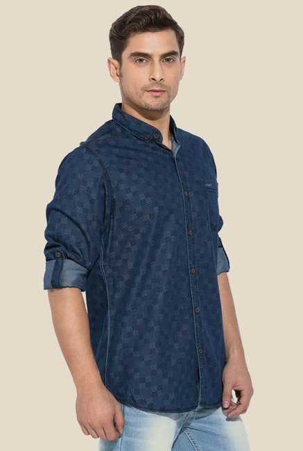Mufti Blue Printed Button Down Collar Shirt