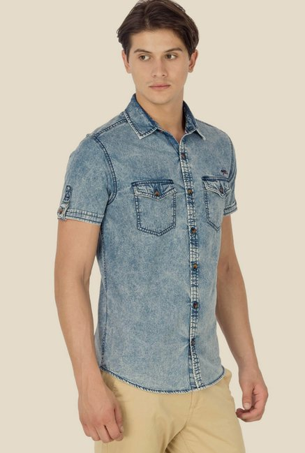Mufti Light Blue Solid Shirt