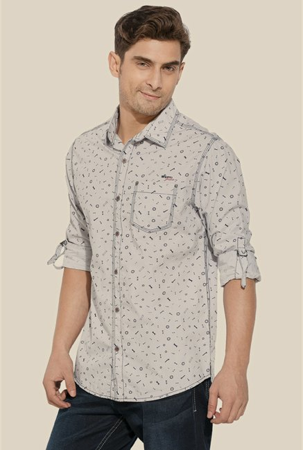 Mufti Grey Printed Shirt