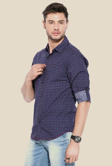 Mufti Navy Printed Cotton Shirt