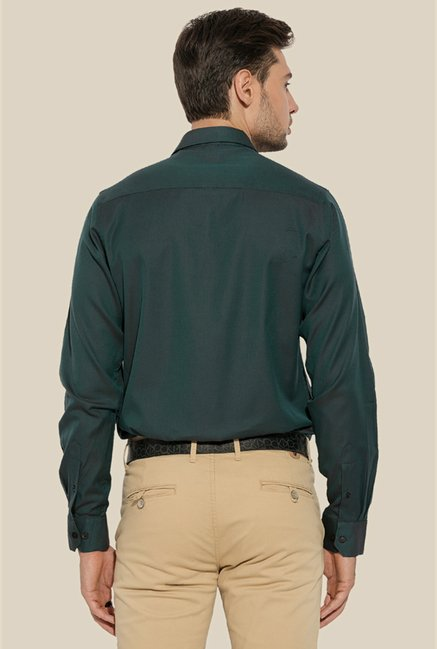 Mufti Green Solid Full Sleeves Shirt