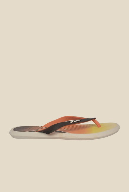 Rider Black & Orange Thong Flip Flops