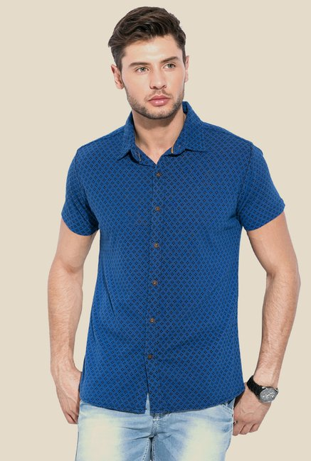Mufti Royal Blue Printed Shirt