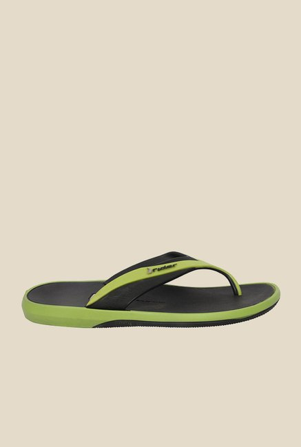 Rider Black & Green Thong Flip Flops