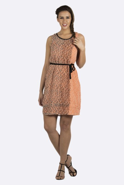 109 F Orange Printed Dress