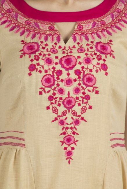 Fusion Beats Beige Embroidered Dress