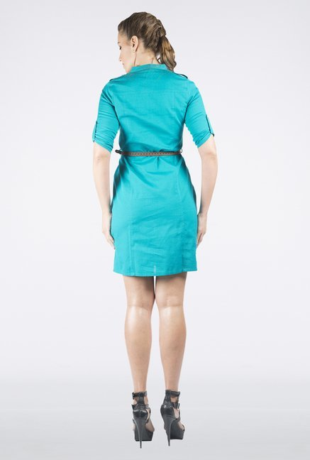 109 F Turquoise Solid Dress