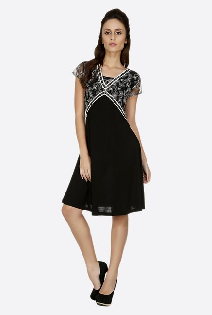 Fusion Beats Black Printed Dress