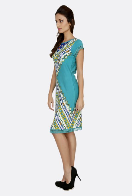 Fusion Beats Turquoise Printed Dress