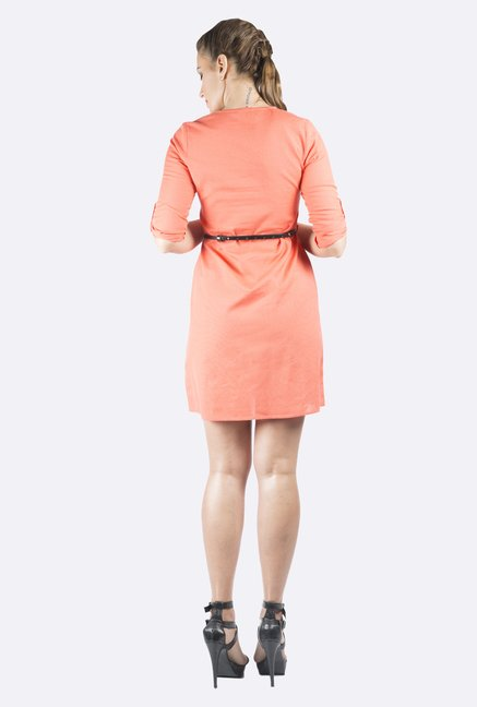 109 F Coral Solid Dress