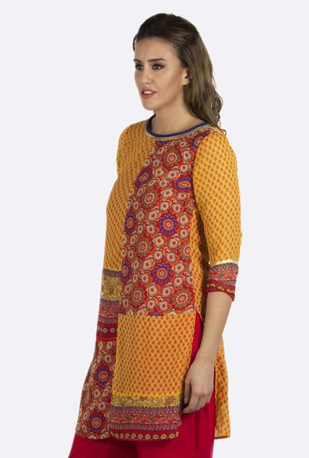 Fusion Beats Yellow Printed Polyester Kurti