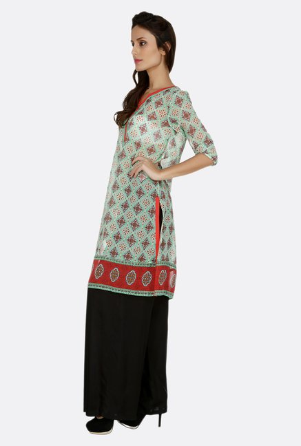 Fusion Beats Green Printed 3/4th Sleeves Kurta