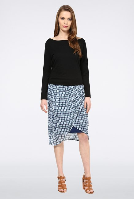 109 F Navy Printed Skirt