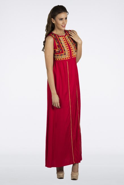 Fusion Beats Red Embroidered Dress