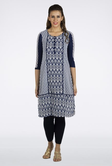 Fusion Beats Dark Blue Printed Kurta