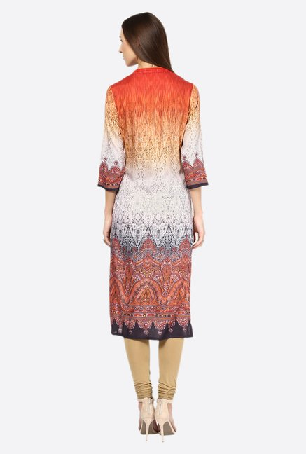 Fusion Beats Multicolor Printed Mandarin Collar Kurta