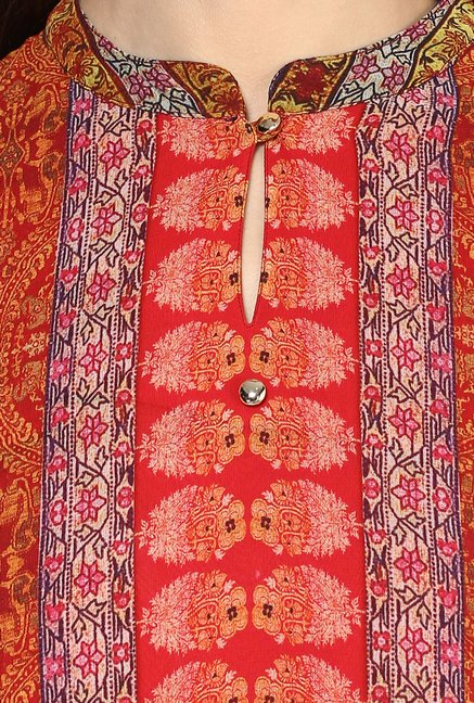 Fusion Beats Red Printed 3/4th Sleeves Kurta