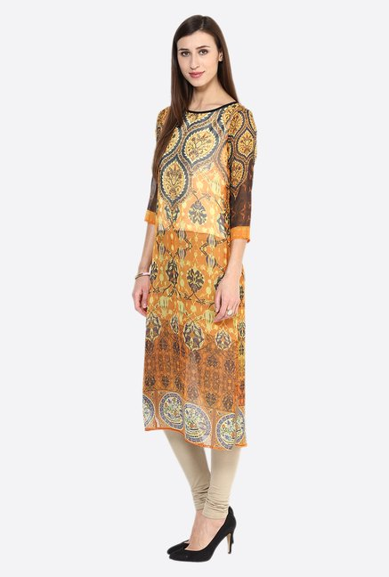 Fusion Beats Orange Printed Kurta