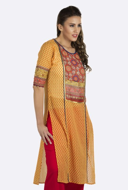 Fusion Beats Yellow Printed Kurta