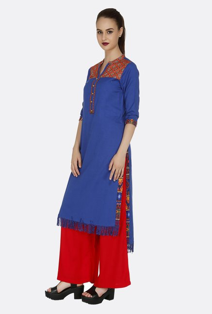 Fusion Beats Royal Blue Solid Kurta
