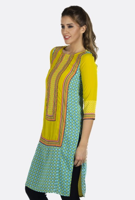 Fusion Beats Yellow Printed 3/4th Sleeves Kurta