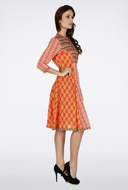 Fusion Beats Orange Printed Cotton Kurta