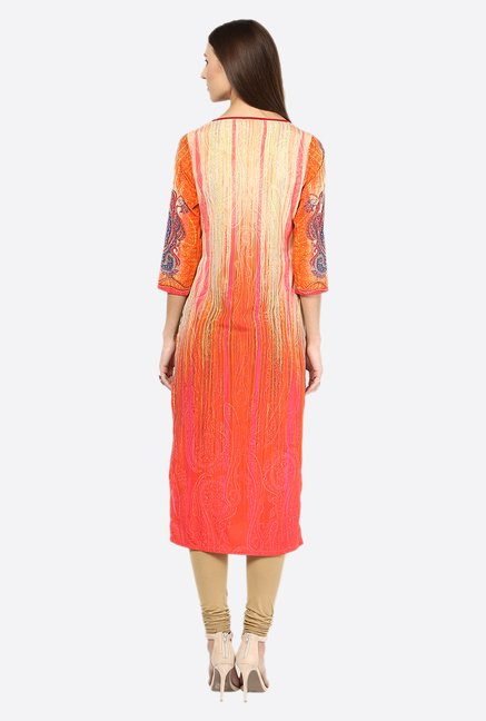 Fusion Beats Orange Printed Polyester Kurta