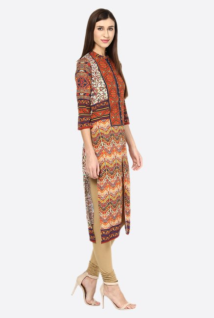 Fusion Beats Orange Printed 3/4th Sleeves Kurta