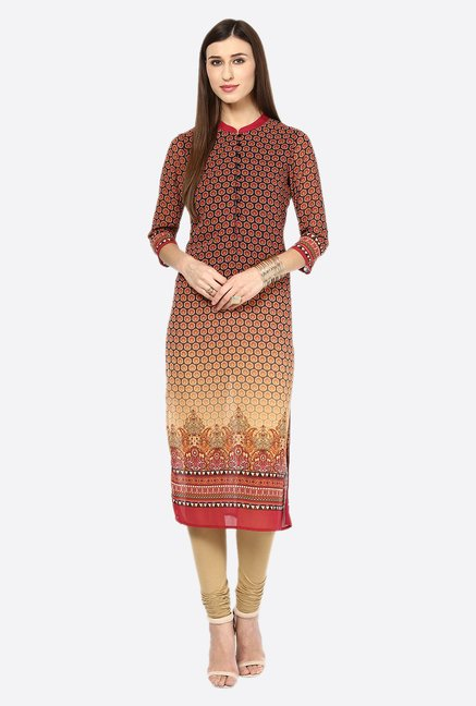 Fusion Beats Brown Printed Kurta
