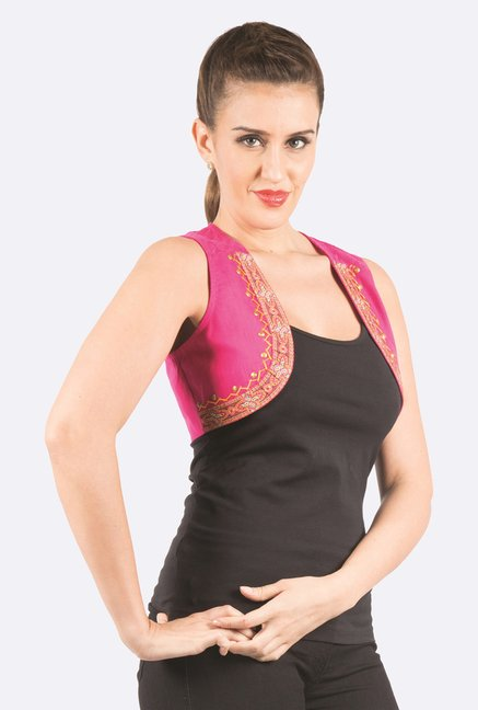 Fusion Beats Pink Embroidered Shrug