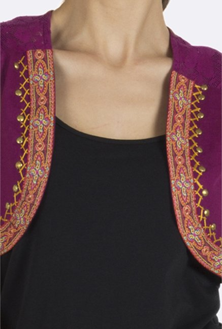 Fusion Beats Purple Embroidered Shrug
