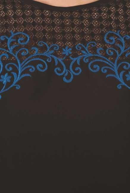 109 F Black & Blue Embroidered Top