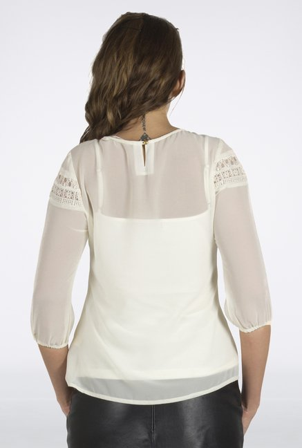 109 F Off-White Sheer Top