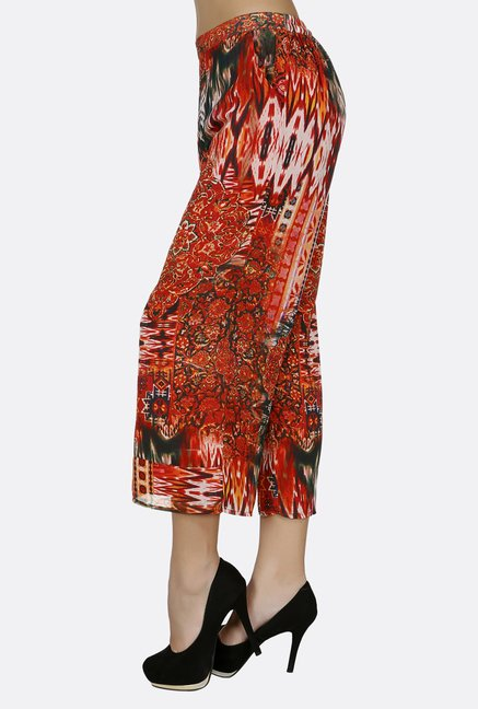 Fusion Beats Orange Printed Culottes