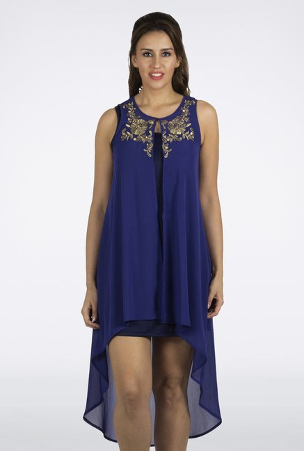 Fusion Beats Blue Embroidered Shrug
