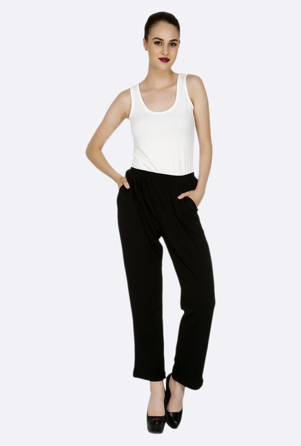 109 F Black Solid Pants