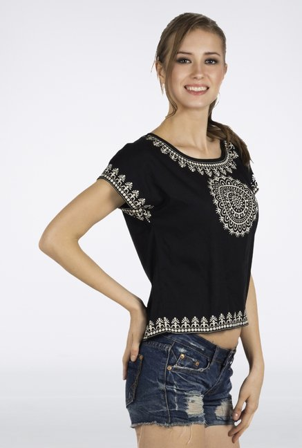 Fusion Beats Black Printed Crop Top