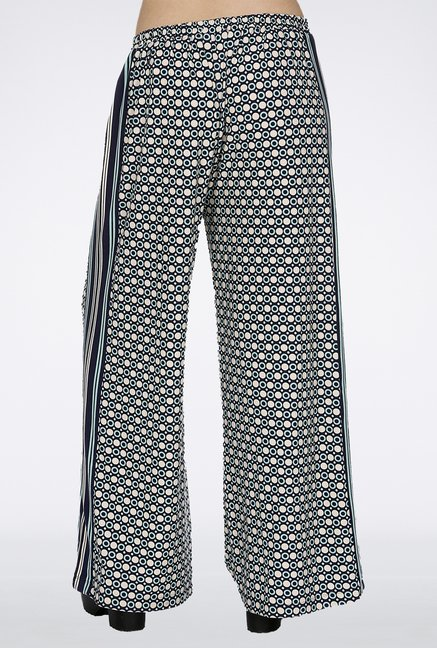 109 F Dark Blue Printed Palazzos