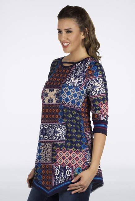 Fusion Beats Blue Printed Tunic