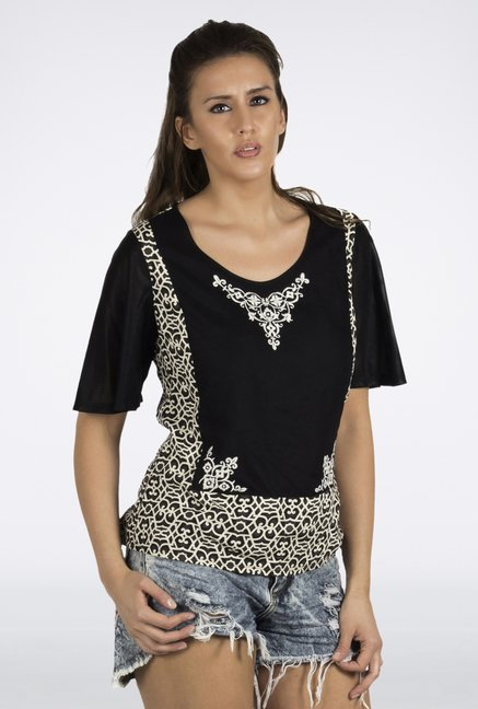 Fusion Beats Black Printed Top