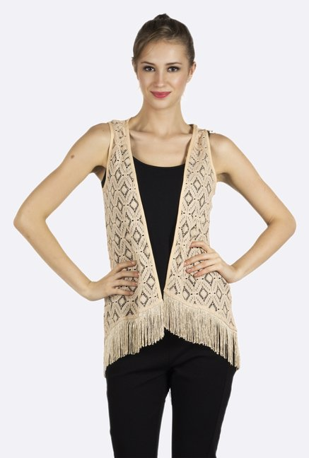 Fusion Beats Beige Lace Shrug